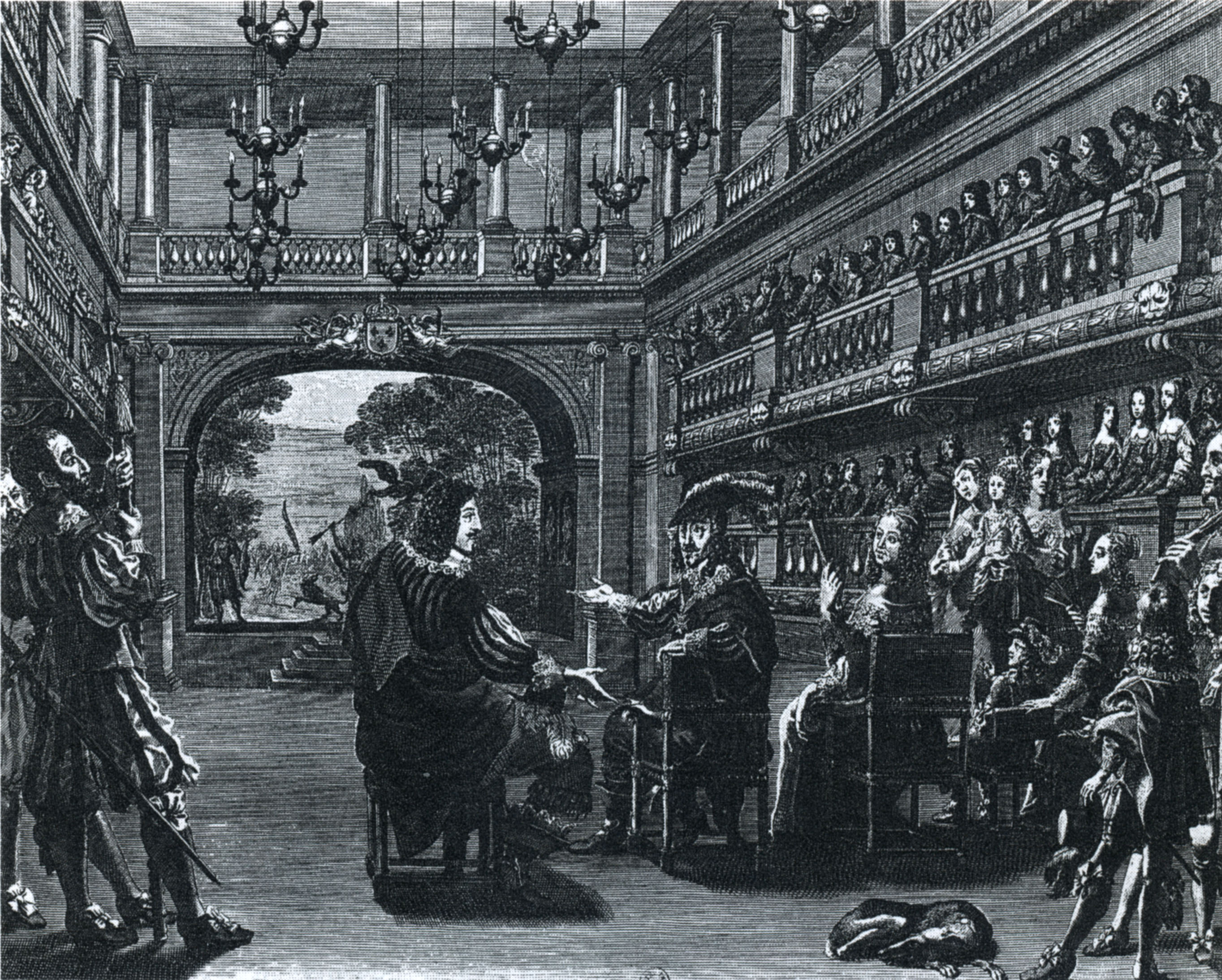 Lochun, Michael van. 1643. Premiere salle du Palais-Royal.  Kupferstich. Das Bild zeigt von links nach rechts Richelieu, Ludwig XIII., Anna von Österreich und den kindlichen Ludwig XIV. Quelle: Wikimedia Commons. CCO.