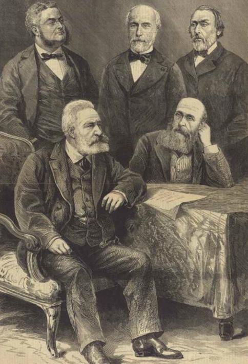 Hugo und die Senatoren aus dem Departement Seine, Journal illustré, 13.02.1876. Quelle und Rechte: Bibliothèque municipale de Besançon, EST FC 3372.
