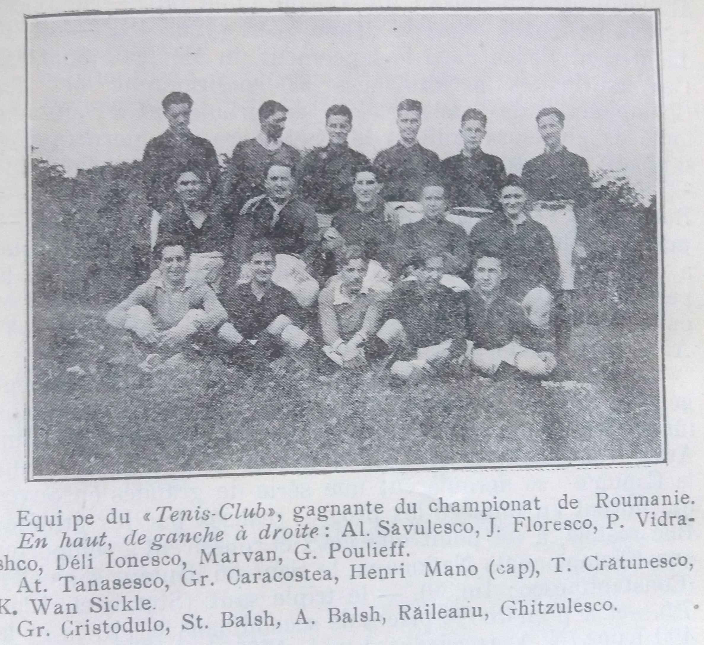 Tennis-Club, Nationalmeister 1923 - mit französierten Namen (Quelle: Almanach du High-Life 1923)