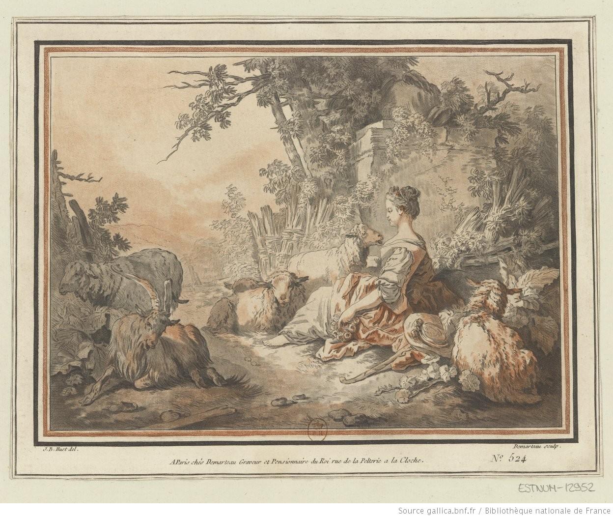 Pastorale (estampe). Gilles Demarteau (1729?-1776). Jean-Baptiste Huet (1745-1811) (gallica.bnf.fr / Bibliothèque nationale de France)