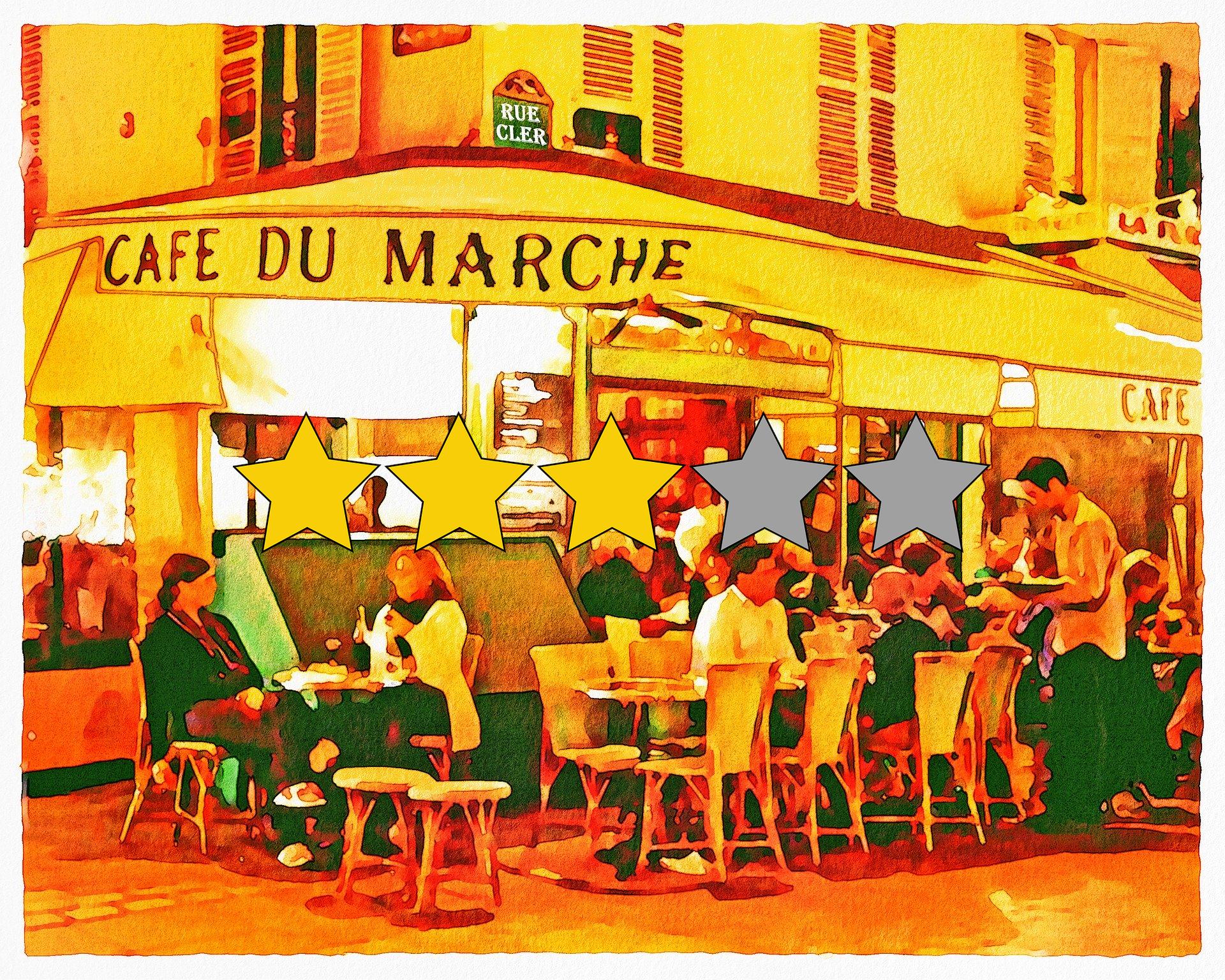 Collage Restaurant mit Bewertungssternen (Quelle: Pixabay/AnnaliseArt, Sthenostudio)