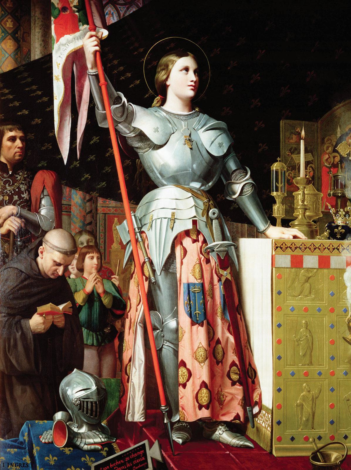 "Jean Auguste Dominique Ingres. 1854. ""Jeanne d'Arc au sacre du roi Charles VII"". Öl auf Leinwand. Creative Commons, Wikimedia."