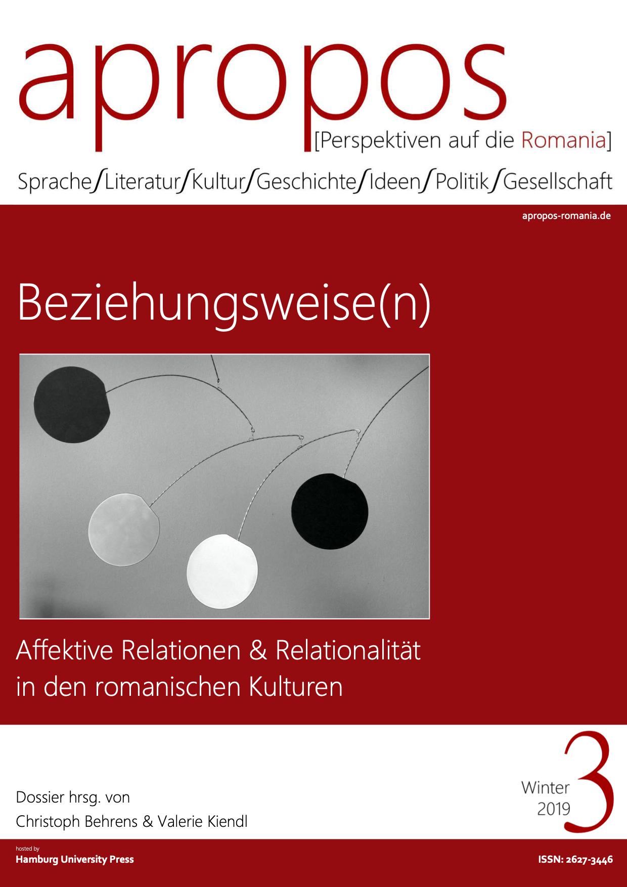 View Nr. 3 (2019): Beziehungsweise(n) – Affektive Relationen und Relationalität in den romanischen Kulturen
