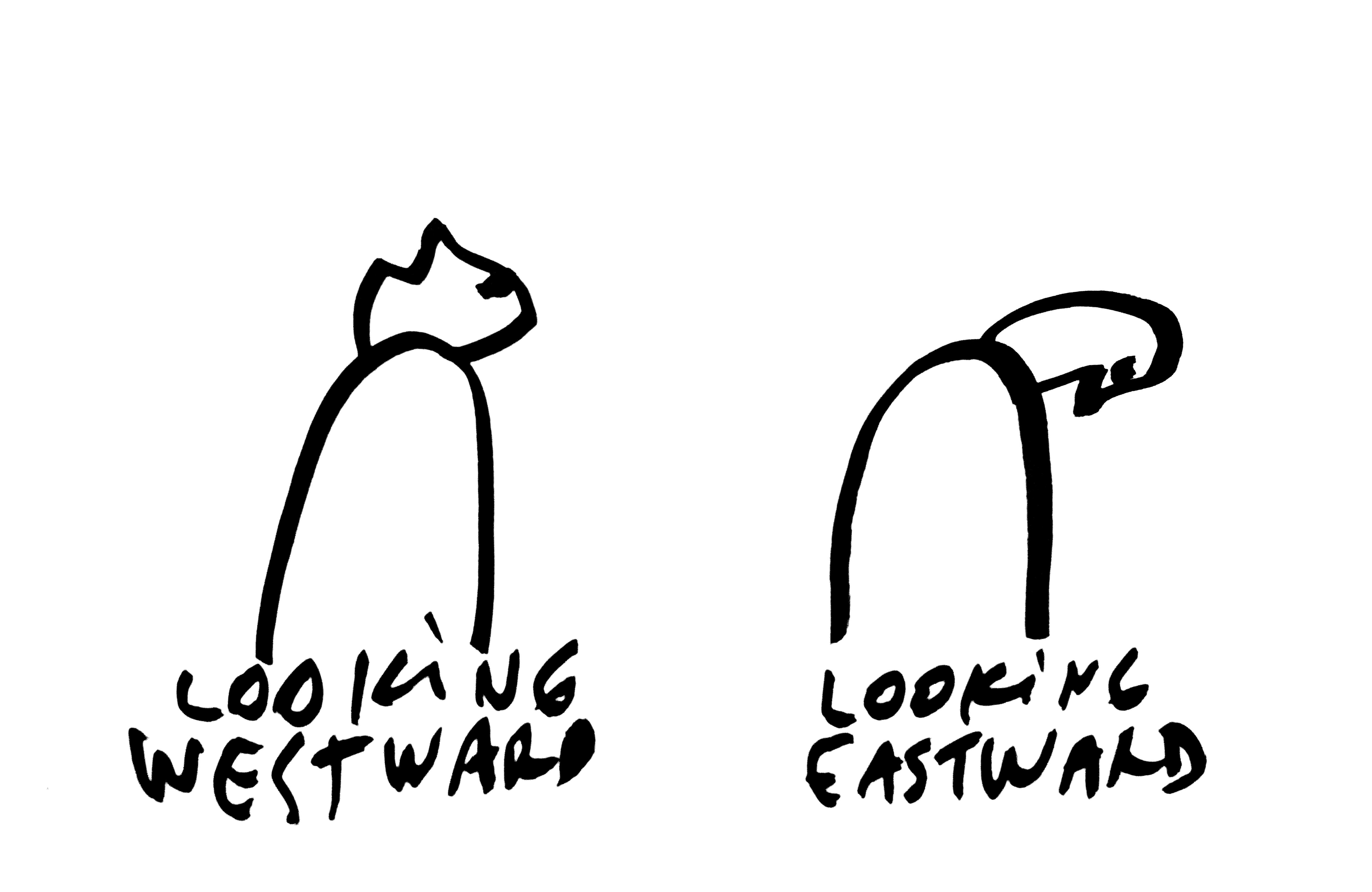 """Zeichnung """"Looking Westward, looking Eastward"""" (1999) (© Dan Perjovschi). Mit freundlicher Genehmigung des Künstlers"""