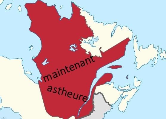 Collage geographischer Umriss von Québec, maintenant, astheure; Originaldatei https://de.wikipedia.org/wiki/Datei:Quebec_in_Canada.svg, CC BY-SA 2.5